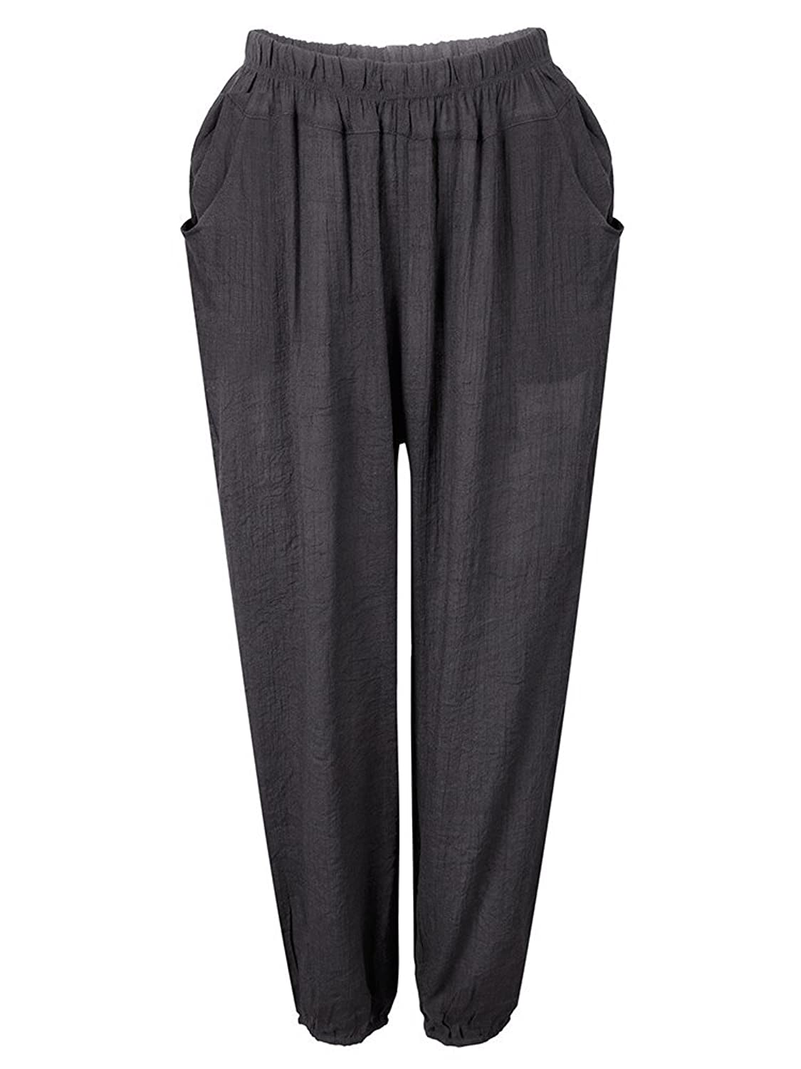 Casual Loose Linen Stretch Waist Women Pocket Pants Trousers