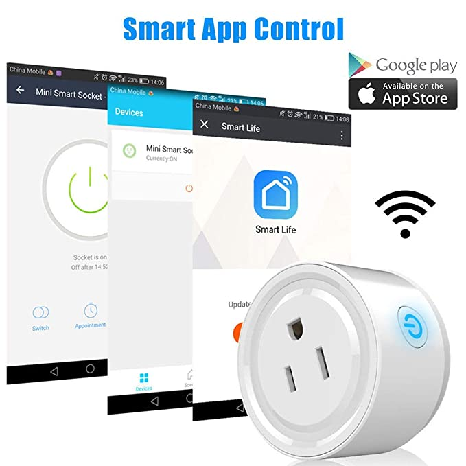 Smart Wifi Plug Outlet Compatible with Alexa, LinkStyle 2 Packs Mini Smart  Wifi Socket Plug Timing Function No Hub Required Control Your Appliances
