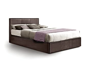 Ottoman Double Storage Bed Upholstered in Faux Leather 4ft 6 Brown  sc 1 st  Amazon UK & Ottoman Double Storage Bed Upholstered in Faux Leather 4ft 6 Brown ...