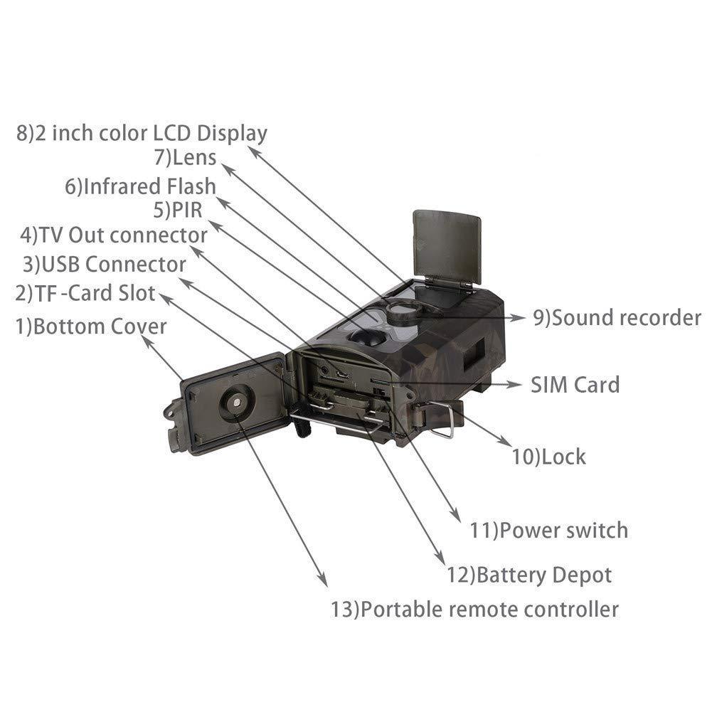 YMXLJJ 4G Salvaje Caza cámara 16MP HD 120 ° PIR Sensor Infrarrojos visión Nocturna Larga Espera para Animales Salvajes Familia de Seguridad Camuflaje: ...