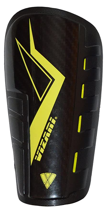 Vizari Stadio NOCSAE Shin Guard with Sleeve, Black/Yellow, Small