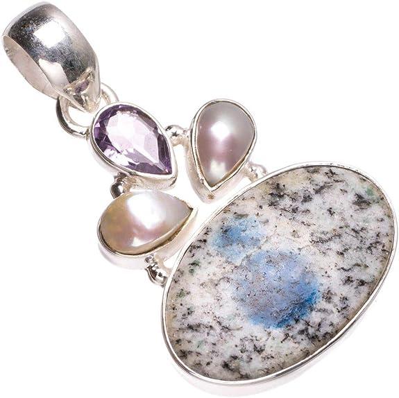 Pear 925 Sterling Silver K2 Teardrop Pendant White Granite Natural Blue Azurite Genuine Cabochon Blended Stone Simple Setting