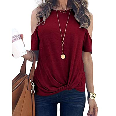 Womens Summer Cold Shoulder Short Sleeve Round Neck Bandage Basic Casual Tunic T-Shirt Tops Blouses at Women's Clothing store