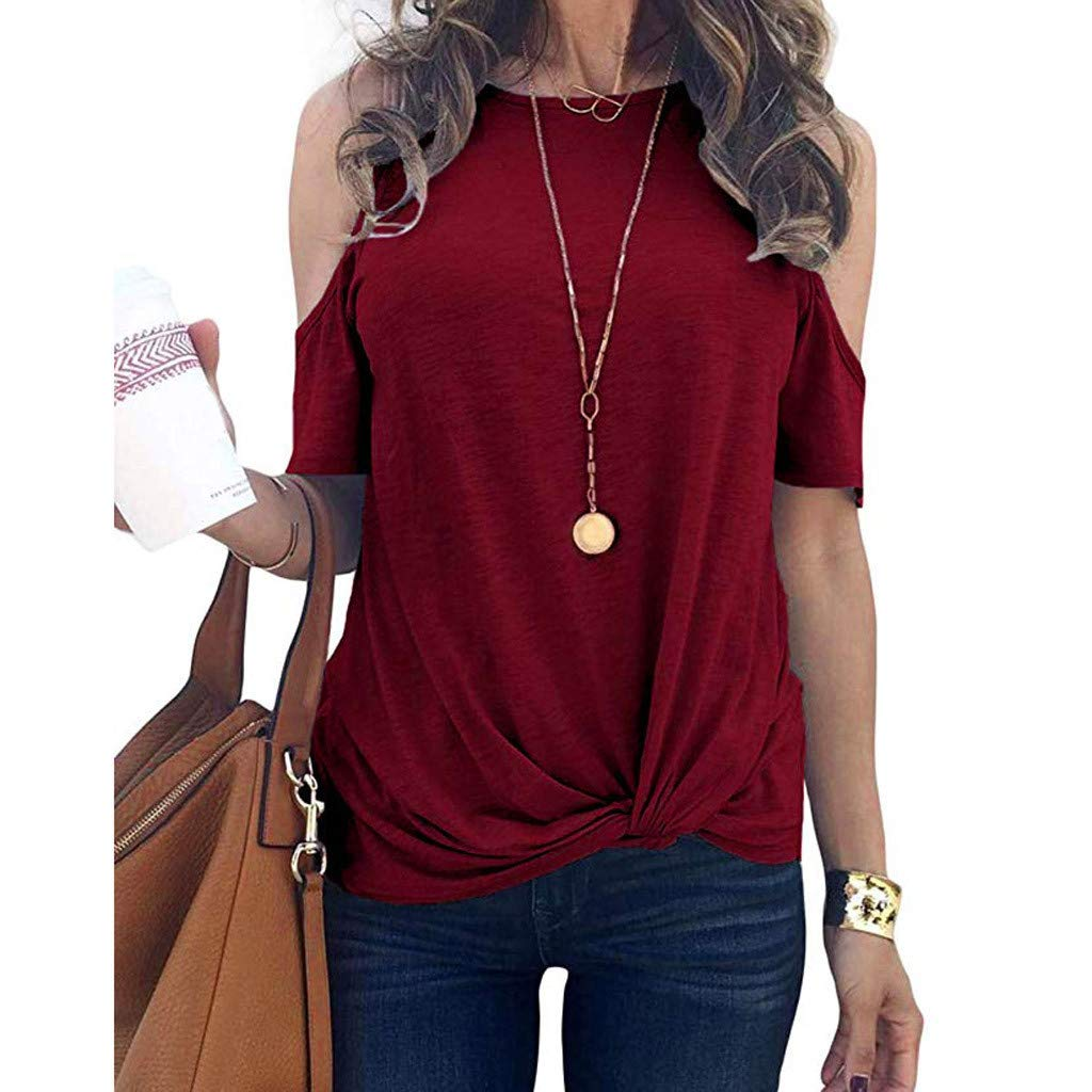 Womens Summer Cold Shoulder Short Sleeve Round Neck Bandage Basic Casual Tunic T-Shirt Tops Blouses (S, Wine)