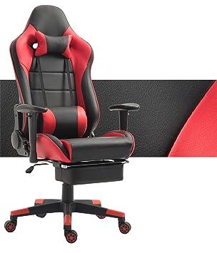 Tiigo Racing Silla Gaming Silla Ergonómica Silla de PC Gamer con reposapiés Ajuste reposacabezas (Negro/Rojo): Amazon.es: Hogar