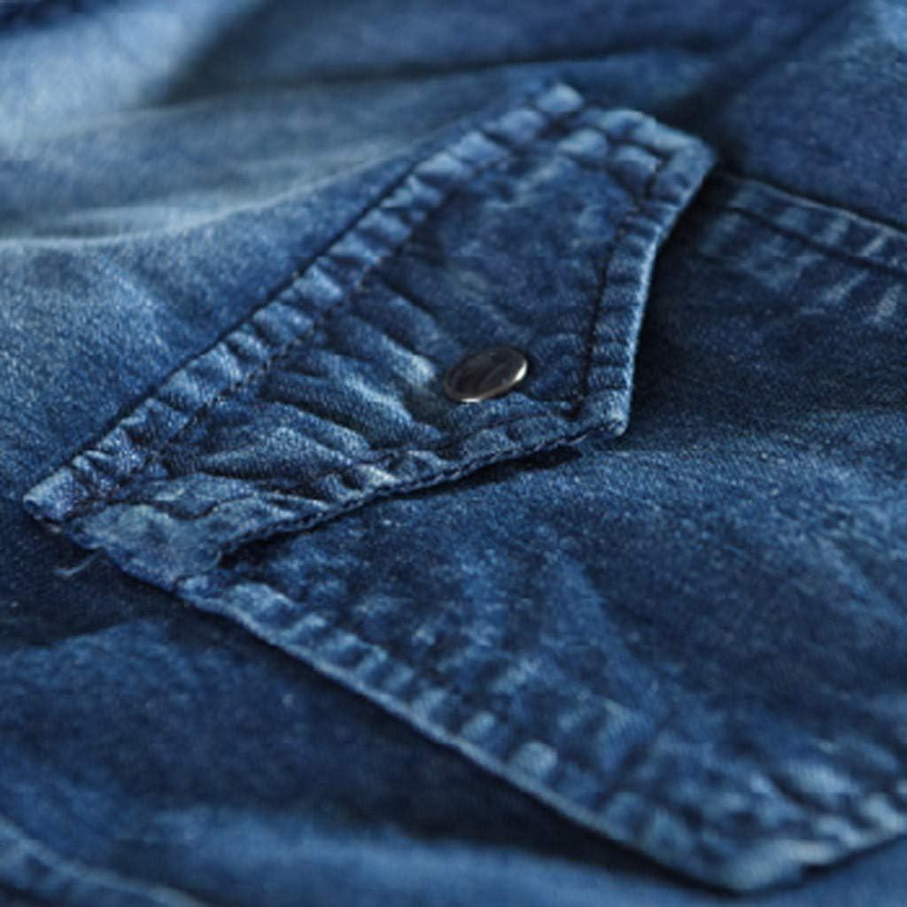 YAYUMI Mens Long Sleeve Denim Pockets Autumn Winter Casual Denim Pockets Tops Blouse