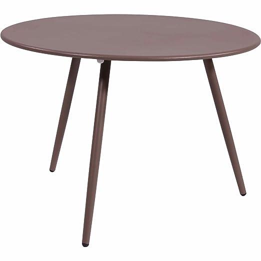 Mesa auxiliar Rafael metal color marrón: Amazon.es: Jardín