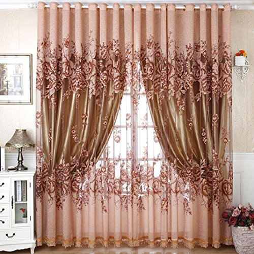 Sunfei Hollow Peonies Finished Product Sheer Window Screens Curtain