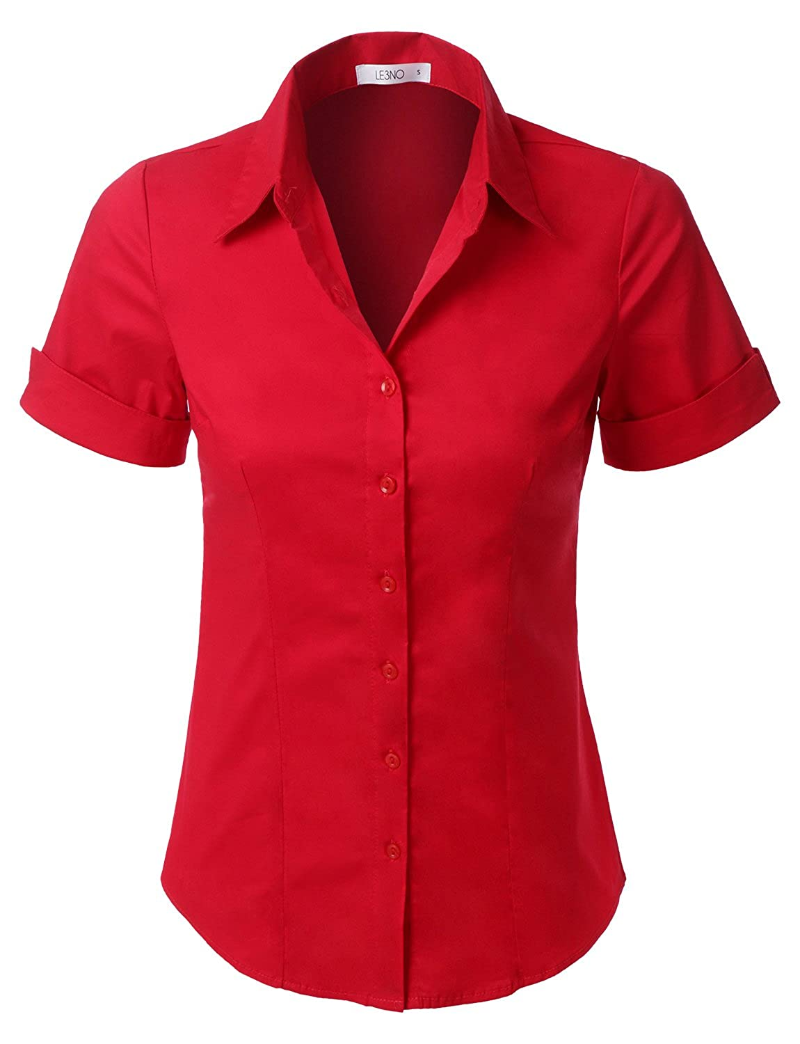 Rosie the Riveter Costume & Outfit Ideas LE3NO Womens Tailored Short Sleeve Button Down Shirt with Stretch $23.45 AT vintagedancer.com