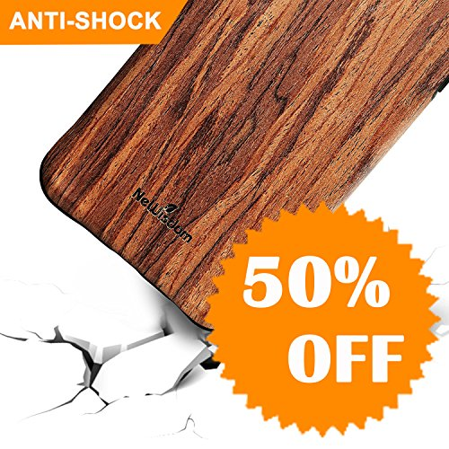 (iPhone 7 Plus case wood, iPhone 8 Plus Case Wood, NeWisdom Shockproof Unique Hybrid Rubberized Cover [Wood over Rubber] Soft Real Wood Case for Apple iPhone 8Plus iPhone 7Plus – Sandalwood)
