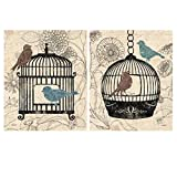 Birds & Blooms; Two Beautiful Classic Botanical Birdcage Prints (11x14)