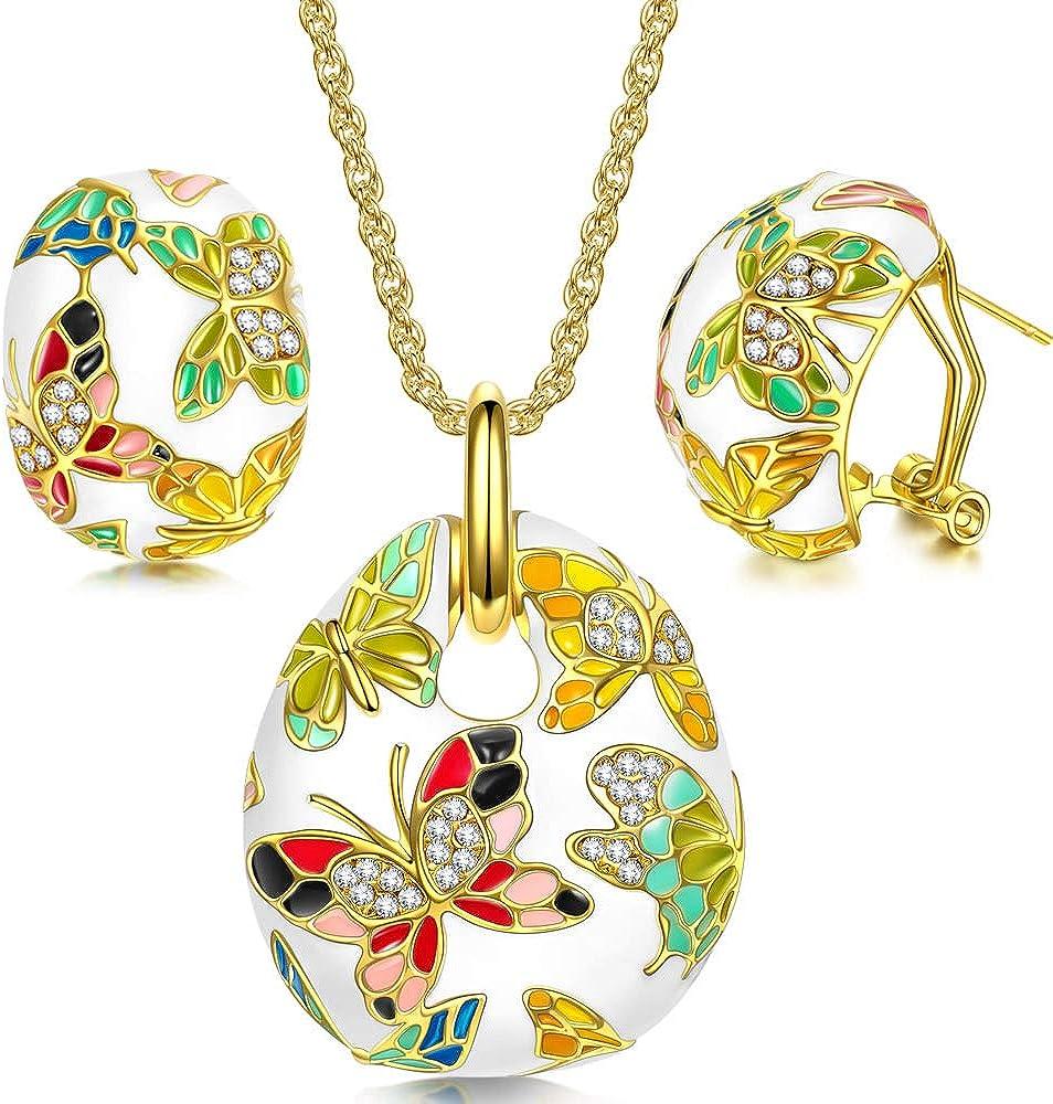 Kami Idea Mujer Conjunto de Joyas, Collar y Pendientes, Primavera de Versalles Esmalte Mariposa, Cristales Preciosa Austriacos, Embalaje de Regalo, Regalo de San Valentín