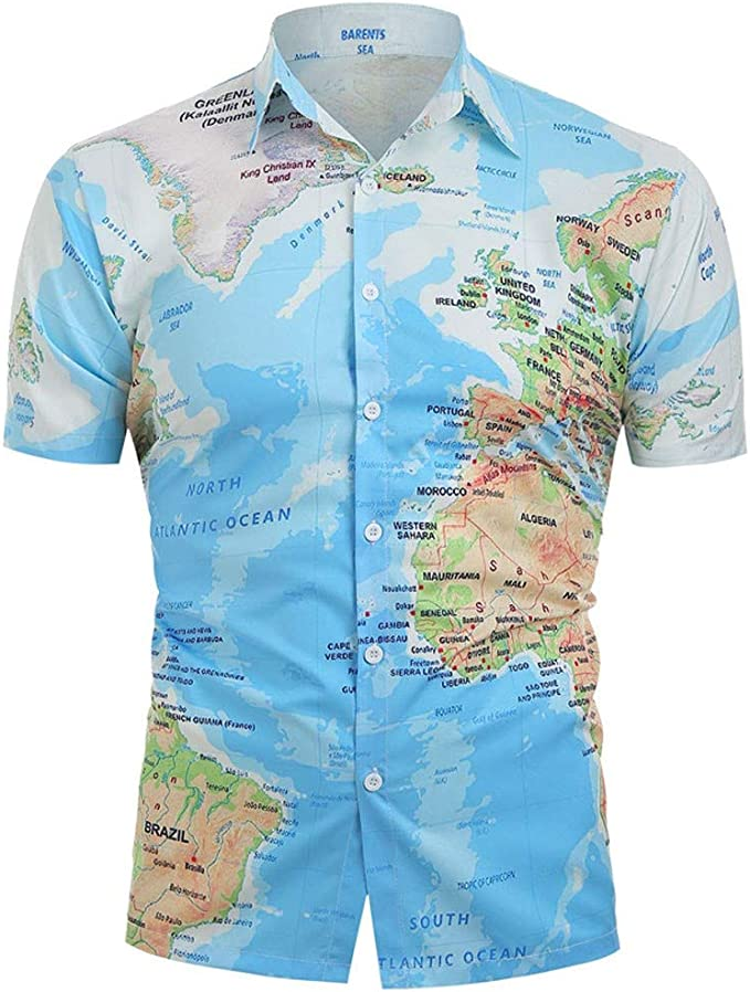 Mens Casual T Shirt Comfy Short Sleeve Pull Over Earth Travel Print