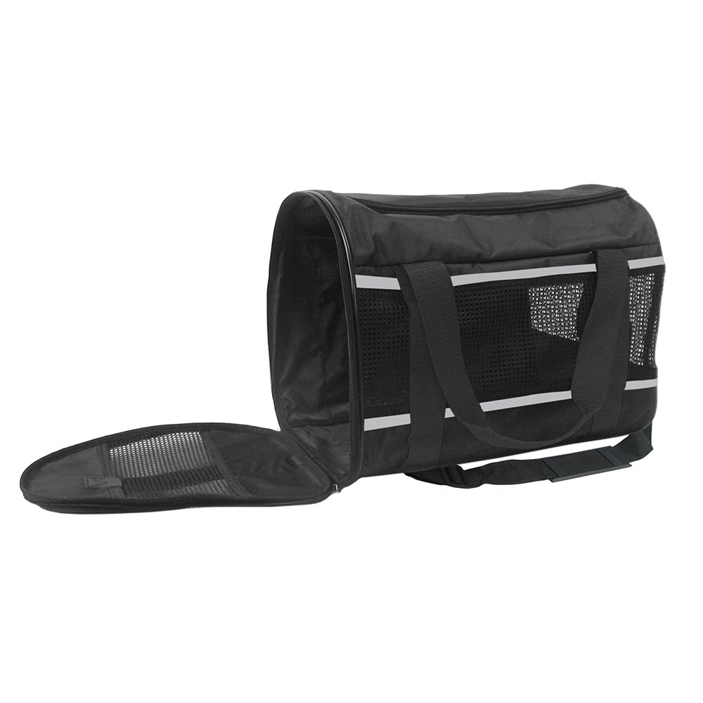 (Black-Basic) SportPet Designs Travel Soft-Sided Pet Carrier, Airline Approved Carrier- with Expandable Option