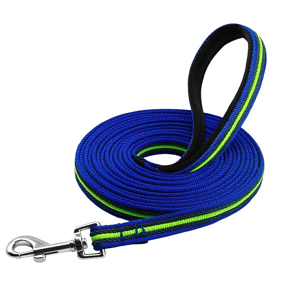 SunshineShops Durable 3m to 15m Dog Tracking Training Lead Leash Long Lead with Padded Handle Special Non-Slip Design for Any Size of Dogs - (Color: Blue; Size: 15m) by SunshineShops