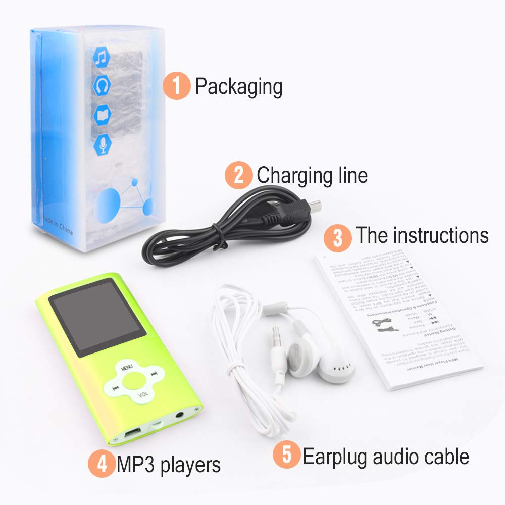 Btopllc MP3 Player MP4 Player Digital Music Player 16GB Internal Memory Card Portable and Compact MP3 MP4 Music Player green