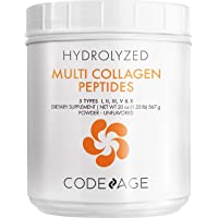 Codeage Multi Collagen Protein Powder Peptides, Hydrolyzed, Type I, II, III, V, X Grass Fed All in One Super Bone Broth and Collagen Supplement, Non-GMO, 20 Ounces