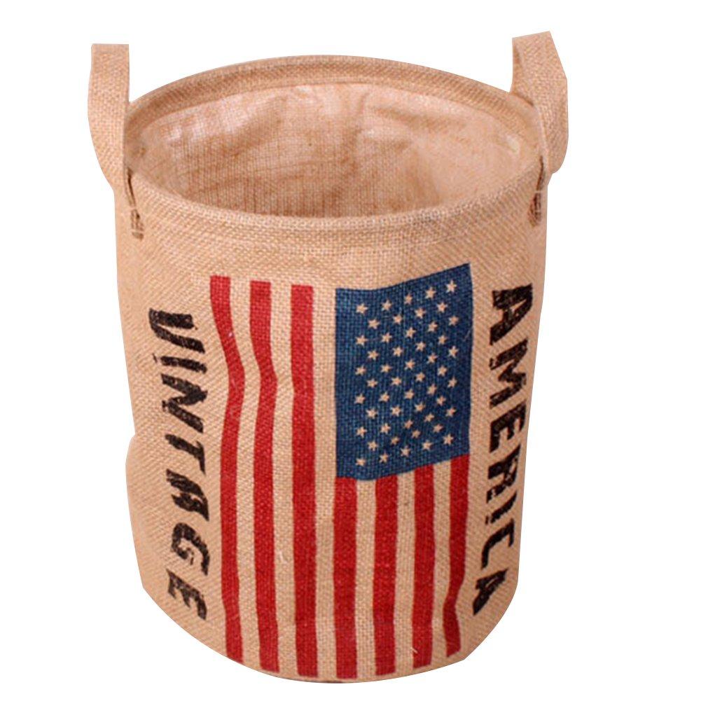 A.B Crew Multi-foncion Linen Storage Bucket Vintage Flag Laundry Basket Foldable Laundry Hamper, American Flag