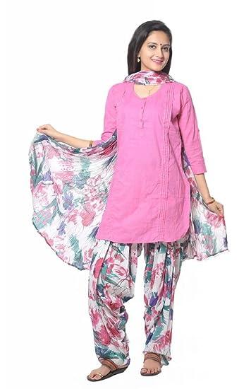 055d89e73e7 Multi Flower Printed Cotton Patiala Salwar And Dupatta Set, no kurti:  Amazon.in: Clothing & Accessories