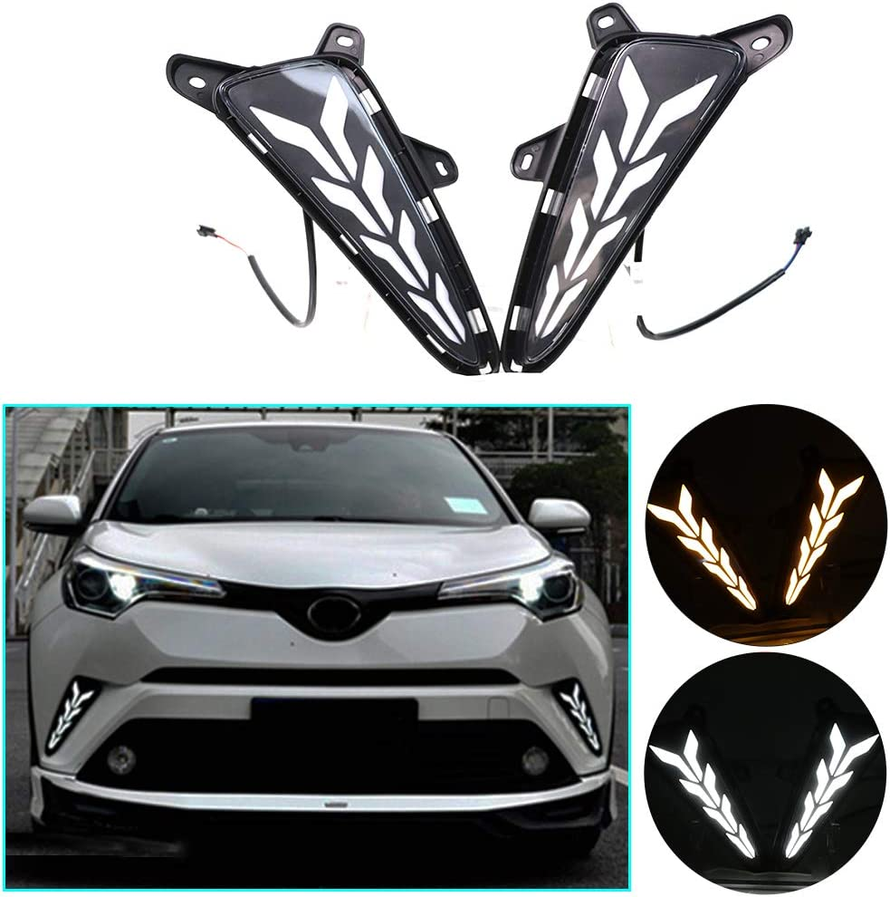GeeGee Switchback White//Amber LED Front Fog Daytime Sequential Running Lamp w//Dynamic Flash LED Turn Signal Feature Fit For 2020 2021 Toyota CHR CH-R Front Fog lamps