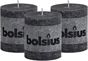 """BOLSIUS Rustic Anthracite (Black) Unscented Pillar Candles - 2.75"""" X 3.25"""" Decoration Candles Set of 3 - Clean Burning Dinner Candles for Wedding & Home Decor Party Restaurant Spa- Aprox (80x68m)"""