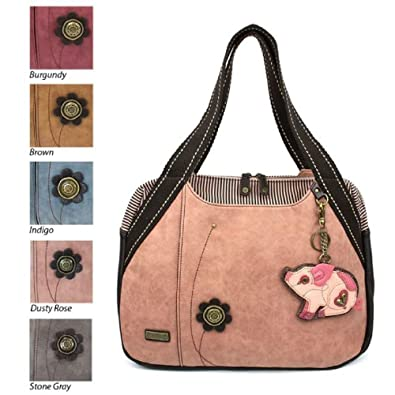 2a4176411cbc Amazon.com  Chala Handbag Bowling Zip Tote Large Bag Pleather Rose Pink Pig  Coin Purse  Shoes