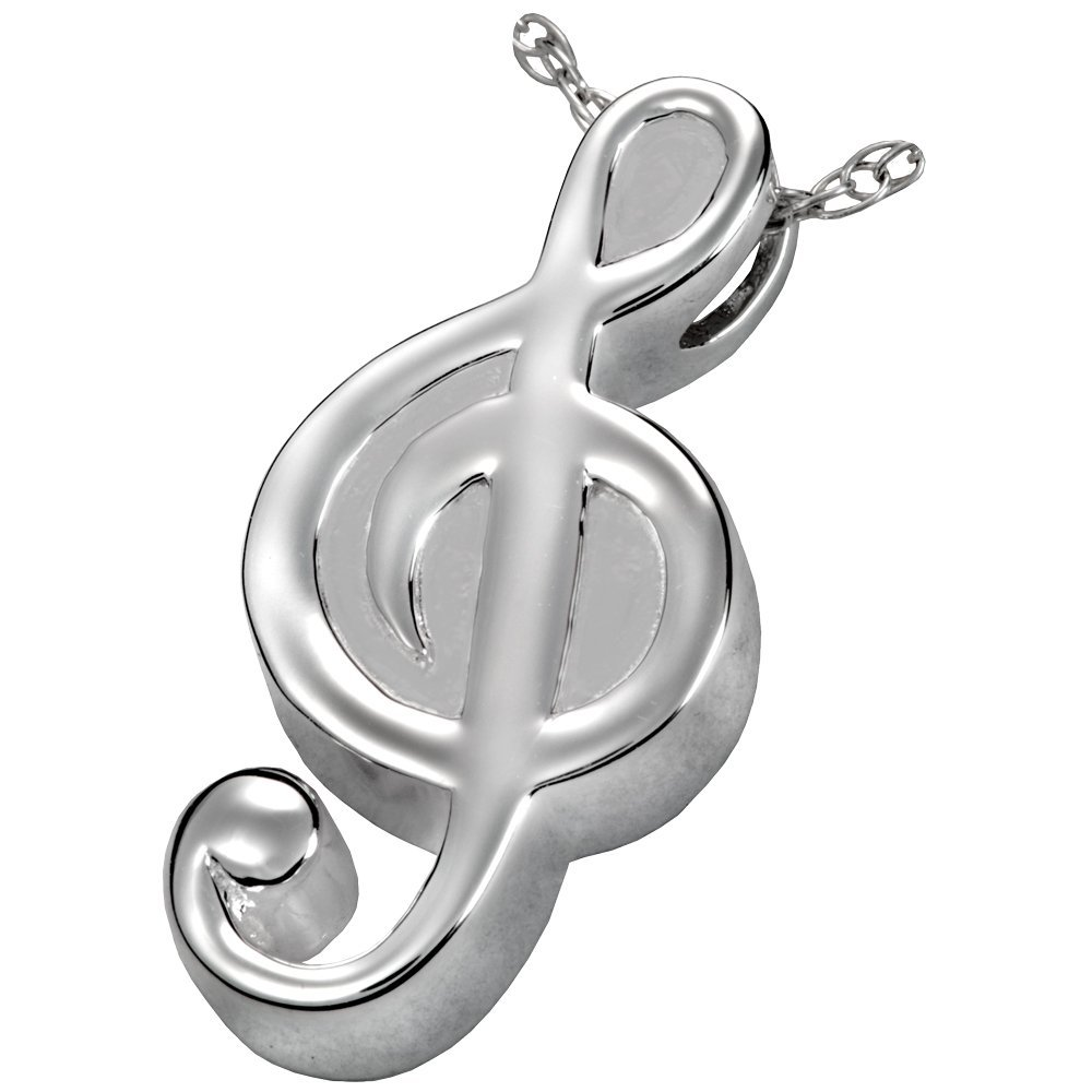 Memorial Gallery MG-3117s Treble Clef Sterling Silver Cremation Pet Jewelry