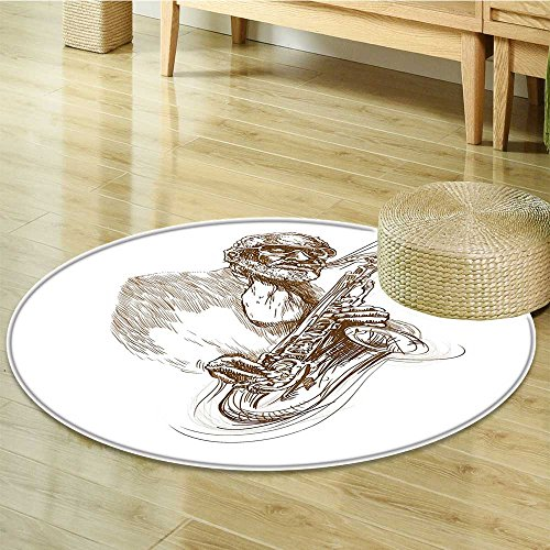 Round Rugs for Bedroom Style Painting Print of Native Jazz Man Solo Rocking Circle Rugs for Living Room-Round ()