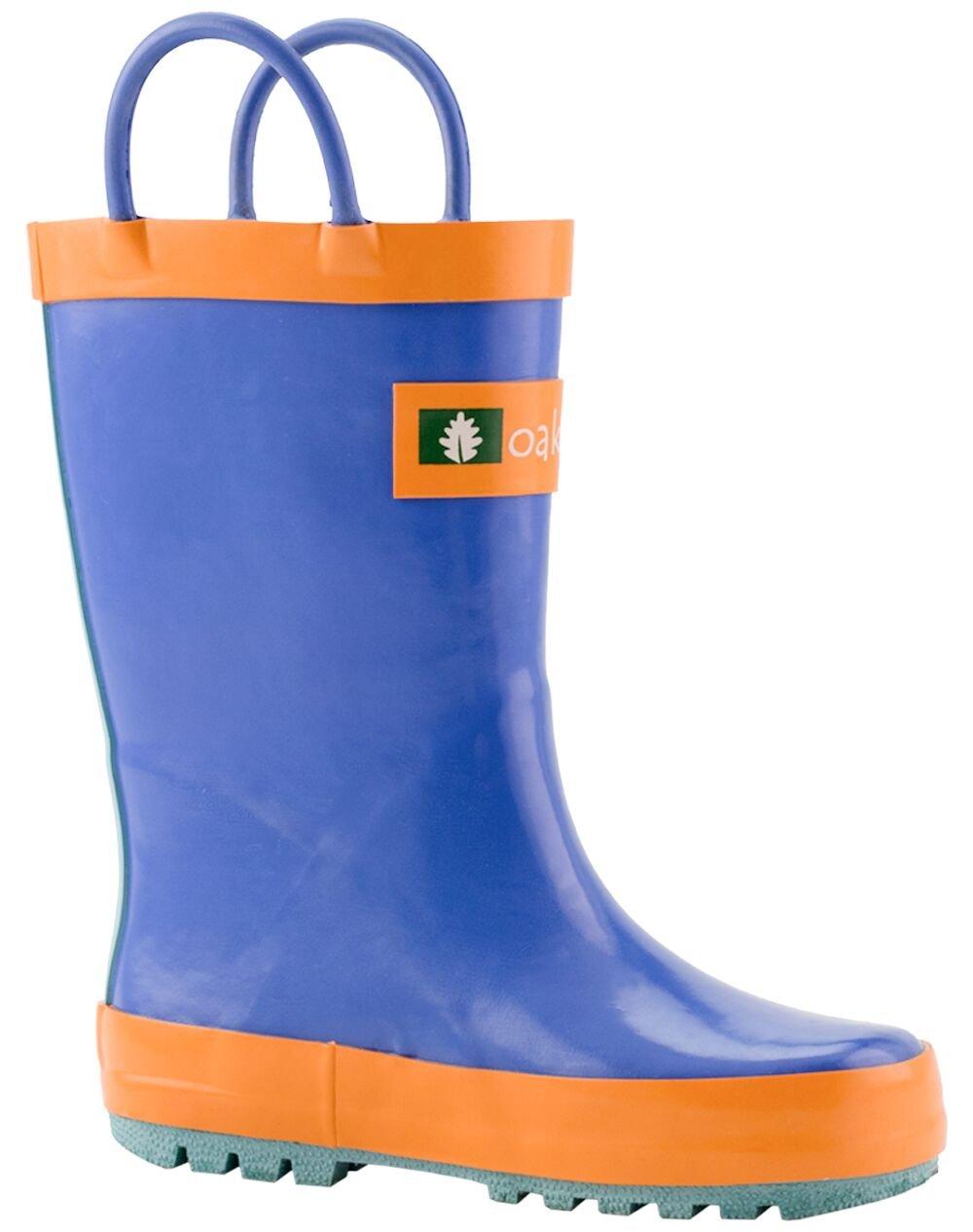 Oakiwear Kids Waterproof Rubber Rain Boots with Easy-On Handles, Blue, Orange & Aqua, 7T US Toddler
