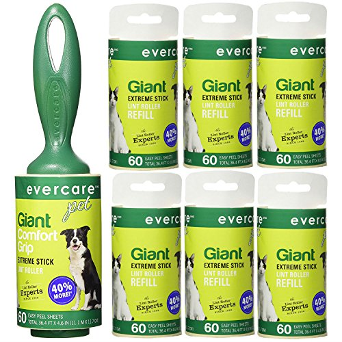 Evercare Pet Bundle  Giant Pet Roller REFILLS - 6 Pack, Dark Green