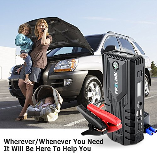 Car Jump Starter with Lithium Battery Booster for 12V Vehicle,Up to 8.4L Gas, 5.5L Diesel Engine,Built-in Safety Hammer,Red Blue Ultra-Bright LED Flashlight and 12000mAh Power Bank by FP2LINK by FP2LINK (Image #2)