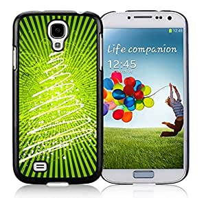 Samsung S4 Case,Christmas Bright Green Stars Christmas Tree Black Silicone Phone Case Fit Samsung Galaxy S4 Case,Galaxy S4 I