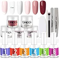 Dip Powder Nail Kit, TOMICCA Nail Dipping Powder System Starter Kit of 5 Colors 30g - Finer Powder for Excellent Color - Easy to Apply