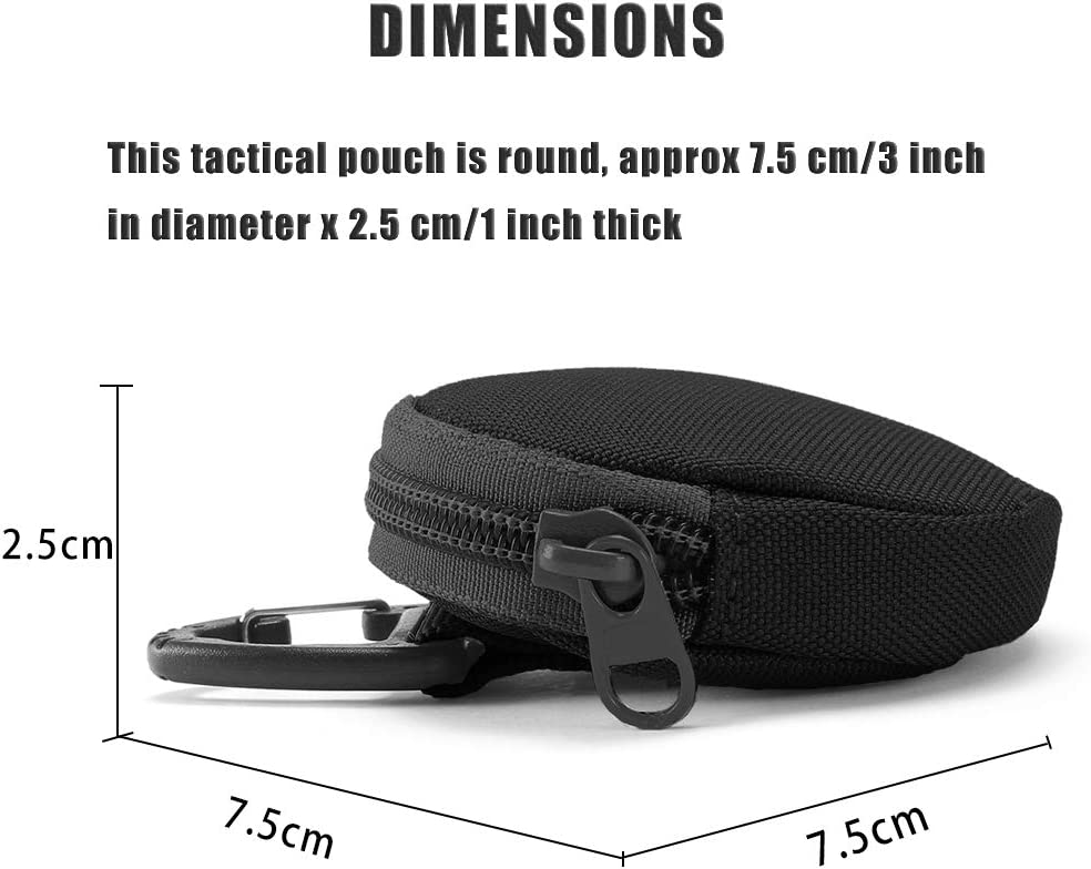 Molle Wallet Upgraded Coin Purse Keychain 6PCS Black Round Portable Bag Accessories as EDC Gear Case Small Tactical Pouch Military Wireless Headset Pack.