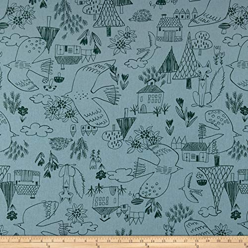 Cosmo Textiles Co. Cosmo Scandinavian Woods XII Linen/Cotton Oxford Cottage Scene Blue, Fabric by the Yard