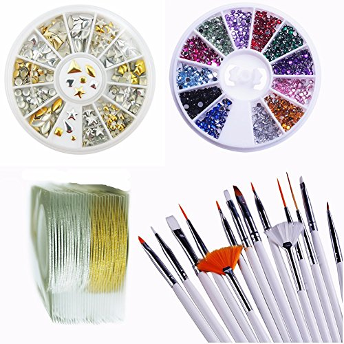 Yimart Set of 47Pcs Nail Art Brush and Nail Rhinestones with Striping Tape Striper Line Decoration(E) -