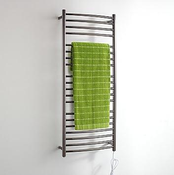 Montado en la pared calentada de acero inoxidable toallero eléctrico / baño Radiador / Calentador de toallas 9001-Negro: Amazon.es: Hogar