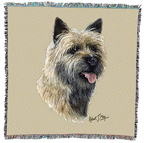 (Pure Country Weavers - Cairn Terrier 2 Woven Throw Blanket with Fringe Cotton. USA Size 54x54)