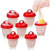 Cuit Oeufs, 7 Cuit Pocheuse Silicone Oeuf, Easy Eggs Cooker Coquetier Gel de Silice de Qualité Alimentaire sans BPA, Faire Bouillir des Oeufs sans Le Coque