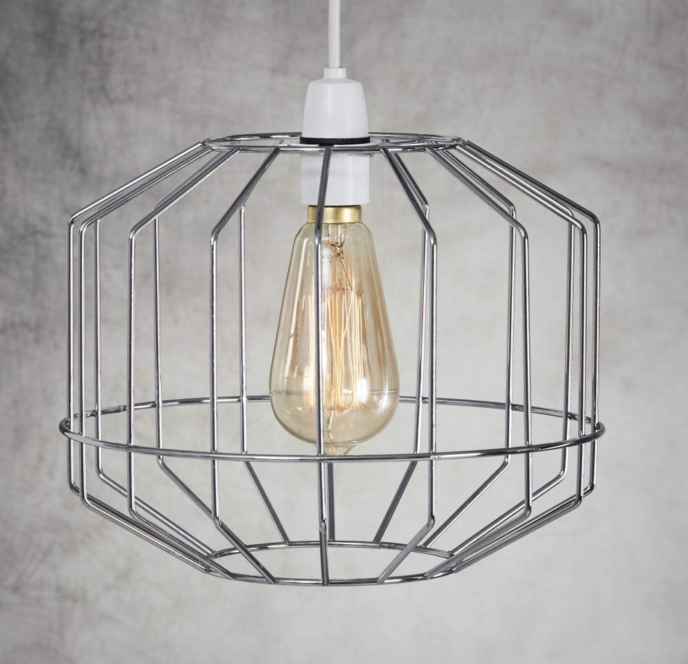 White Lampshade Large Metal Retro Style Cage Light Shade Pendant Funky Modern Rustic Industrial Vintage Look