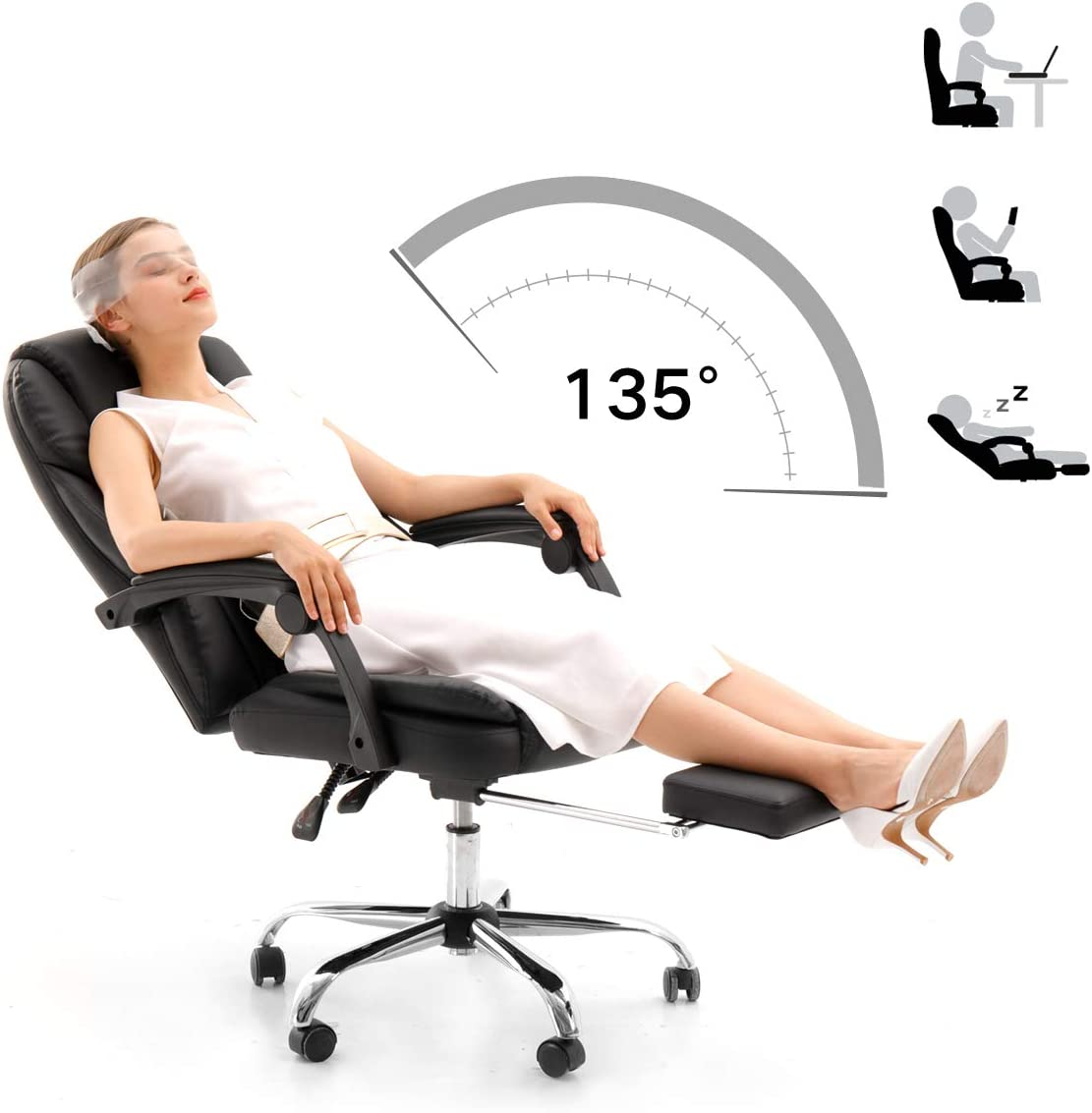 Hbada Ergonomic Executive Office Chair, PU Leather Swivel Desk Chair,Adjustable Height High-Back Reclining Chair with Padded Armrest and Footrest,Black