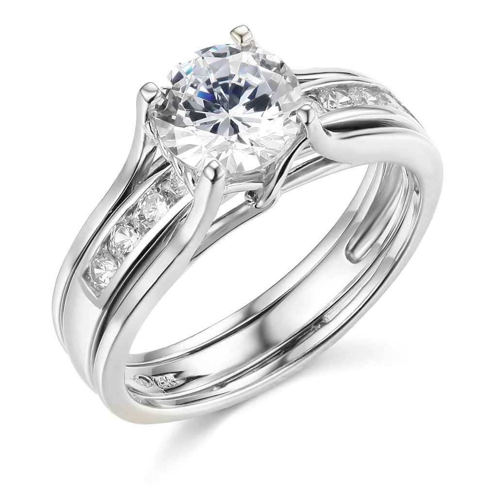 14k White Gold SOLID Engagement Ring & Wedding Band Set - Size 7