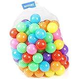 カラーボール おもちゃボール 7色約100個 直径約5.5cm やわらかポリエチレン製 収納ネットセット(プール/ボールハウス用)