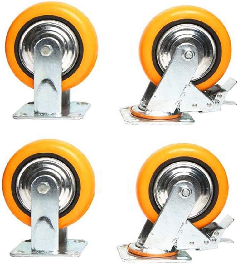 MUMA Heavy Duty 4//5//6//8 Inch Polyurethane Mute Universal Brake Wheel Furniture Flat Push Wheel Industrial Machinery Wheel Color : 2 brakes+2 orientation, Size : 6-inch