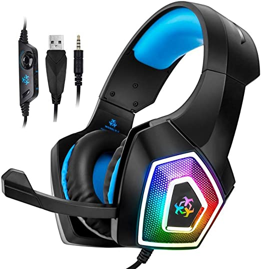 TAOXUE Auriculares Gaming PS4, Cascos Gaming, Premium Stereo con Microfono Gaming Headset con 3.5Mm Jack para PS4/PC/Móvil - Azul: Amazon.es: Hogar
