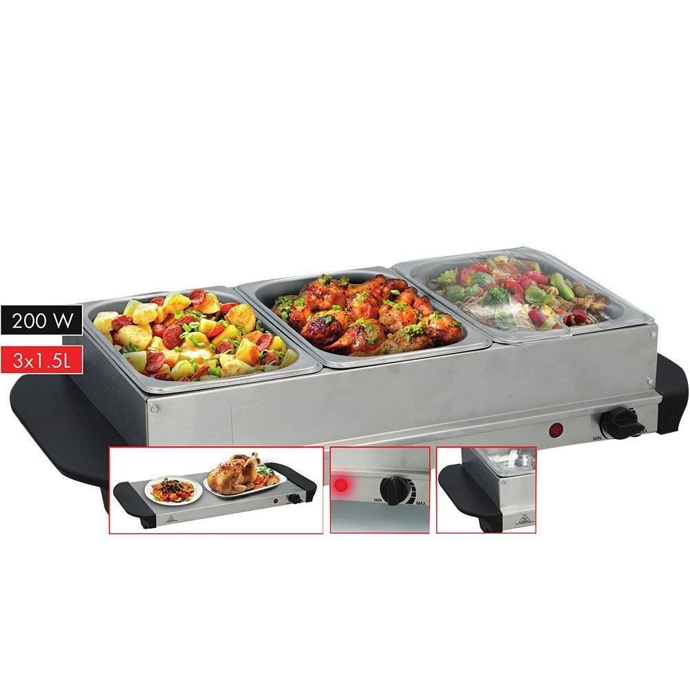 Scaldavivande Buffet Server Vassoio Riscaldante Temperatura Regolabile 3 Spazi Cuisinier