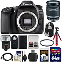 Canon EOS 80D Wi-Fi Digital SLR Camera Body with 18-200mm IS Lens + 64GB Card + Battery + Backpack + Flash + Flex Tripod + Kit