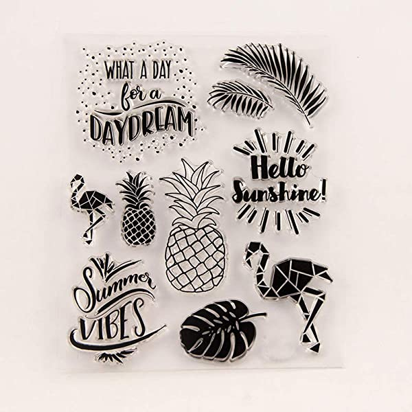 You are My Sunshine Palm Tree Vocation Flowers Clear Stamp Rubber Clear Stamp//Seal Scrapbook//Photo Album Decorative Card Making Clear Stamps