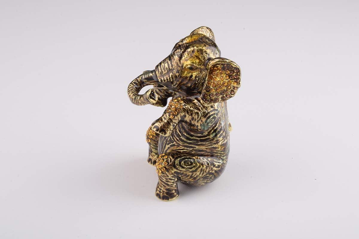 Keren Kopal Brown Elephant Trinket Box Decorated with Swarovski Crystals Unique Handmade Gift EL1931