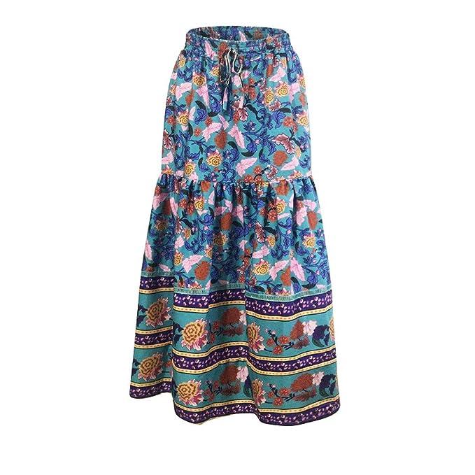 Conquro-falda con Estampado de Cintura Bohemio para Mujer Vestido ...